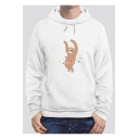 Lovely Cartoon Sloth Printed Long Sleeve Regular Fitted Hoodie