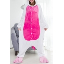 Cute Unisex Fleece Color Block Button Front Onesie Unicorn Costume Pajamas for Adult