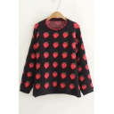 Red Overall Strawberry Printed Crewneck Long Sleeve Black Sweater