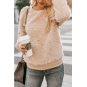 Women's Khaki Long Sleeve Crew Neck Solid Regular Fitted Sweatshirt