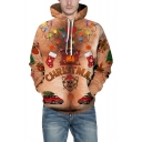 Funny Cartoon 3D Christmas Pattern Long Sleeve Brown Unisex Hoodie
