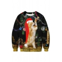 Cute 3D Cartoon Christmas Cat Pattern Crewneck Long Sleeve Black Sweatshirt