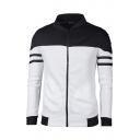 Men's Color Block Stand Collar Long Sleeve Zip Up Jacket
