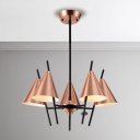 Antique Copper Multi Light Chandelier 6 Light/8 Light LED Cone Chandelier for Living Room Restaurant
