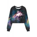 Galaxy Unicorn Cat Printed Long Sleeve Round Neck Navy Cropped Sweatshirt