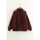 Dark Red Striped Print Long Sleeve Stand Collar Ruffled Zip Up Baseball Jacket