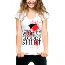 Women's Fashion Letter Blood Printed Round Neck Short Sleeve White T-Shirt