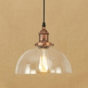 Dome Hanging Pendant Light Industrial 1 Light Clear Glass Hanging Lamp in Rust Finish for Dining Room