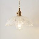 Modern Semicircle Pendant Light with Prismatic Glass Shade 1 Light Indoor Lighting Fixture in Polished Brass