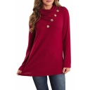 New Trendy Long Sleeve Cowl Neck Button Front Loose Casual Solid T-Shirt