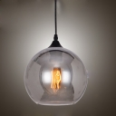 Smoke Glass Globe Shade Suspension Industrial Modern Single Light Pendant Lamp for Studio Office