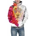 Colorblock Long Sleeve 3D Tiger Pattern White Unisex Hoodie