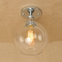 Polished Chrome/Rust Globe Flush Mount Light in Clear Glass for Kitchen Foyer Hallway
