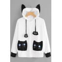 Cartoon Cat Print Pocket Long Sleeve Black and White Color Block Cat Ear Hoodie