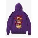 Letter GOOD FOOD Hamburger Print Back Long Sleeve Street Style Hoodie