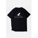 Trendy Letter YOU ARE OFFLINE Dinosaur Print Short Sleeve Pullover T-Shirt