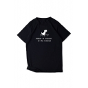 Letter UNABLE TO CONNECT TO THE INTERNET Print Black Short Sleeve Loose T-Shirt