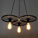 3 Light  Industrial Style Wheel LED Multi Light Pendant in  Black