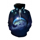 Digital Christmas Series Galaxy Pattern Long Sleeve Black Drawstring Hoodie for Men