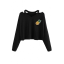 Pineapple Embroidered Long Sleeve V Neck Black Leisure Cropped Tee