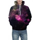 3D Galaxy Printed Long Sleeve Purple Unisex Leisure Drawstring Hoodie