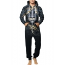 Black 3D Lightning Lion Pattern Hooded Long Sleeve Zip Closure Men's Jumpsuits
