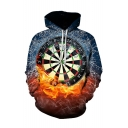New Arrival 3D Digital Dartboard Printed Blue and Orange Colorblock Casual Hoodie