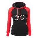 Colorblock Long Sleeve Glass Printed Sports Hoodie