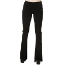 Unique Webbing Lace-Up Side Basic Solid Black Boot-Cut Pants