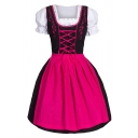 Stylish Housemaid Cosplay Square Neck Puff Short Sleeve Lace-Up Front Colorblocked Midi Fit-Flared Babydoll Dress