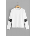 New Fashion Unique Letter Webbing Cutout Long Sleeve Round Neck White T-Shirt