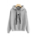 Hot Fashion Finger Heart Pattern Long Sleeve Loose Casual Hoodie