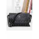 Black Popular Studded Skull Printed Chain Bag