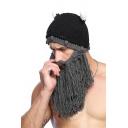 Funny Winter's Men Novelty Beard Facemask Horn Hat