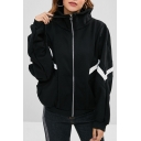 Popular Long Sleeve Stand Collar Contrast Trim Zip Placket Black Coat