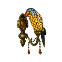 Parrot Shade Wall Light Tiffany Style Stained Glass Decorative Wall Sconce in Yellow