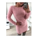 Sexy Long Sleeve Round Neck Plain Bodycon Mini Fleece Dress