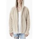 Men's Trendy Solid Long Sleeve Open Front Cashmere Hoodie