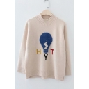 Long Sleeve Mock Neck Bulb Letter Embroidered Loose Sweater