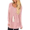 Tunics Long Sleeve Round Neck Plain Lace Patched Casual Sweater