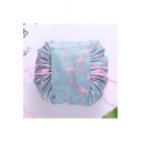 Fashion Cute Flamingo Printed Waterproof Drawstring Velcro Tape Cosmetic Pouch Make Up Bag