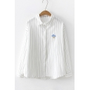 Weather Cloud Rain Moon Sun Embroidered Vertical Striped Relaxed Long Sleeve Button Shirt