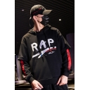 Hip Hop Street Style Letter RAP Print Double Layered Long Sleeve Casual Loose Hoodie
