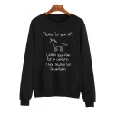 Leisure Long Sleeve Cartoon Unicorn Letter Printed Round Neck Sweatshirt