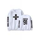 Leisure Long Sleeve Round Neck Letter WORLD TOUR SHEERAN 91 Printed Loose Sweatshirt