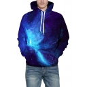 Blue 3D Galaxy Pattern Long Sleeve Loose Fitted Casual Unisex Hoodie
