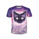 Purple 3D Cartoon Cat Galaxy Printed Round Neck Short Sleeve Pullover T-Shirt