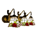 Triple Light Rosebud Wall Sconce Tiffany Style Stained Glass Accent Wall Lamp in Red