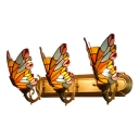 Yellow Butterfly Wall Sconce Vintage Stained Glass Triple Light Wall Lighting for Hallway