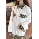 Unique Leopard Patched Lapel Collar Long Sleeve Button Down Shirt